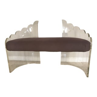"""1970s Vintage Charles Hollis Jones for Hill Mfg Clear Lucite """"Angel Wings"""" Bench For Sale"""