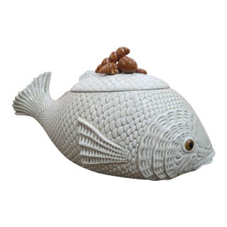Vintage Mid-Century Modern Ceramic Fish Tureen by Fitz and Floyd For Sale
