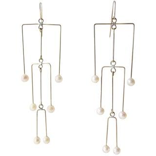 Modern Heidi Abrahamson Pearl Brass Kinetic Mobile Earrings For Sale