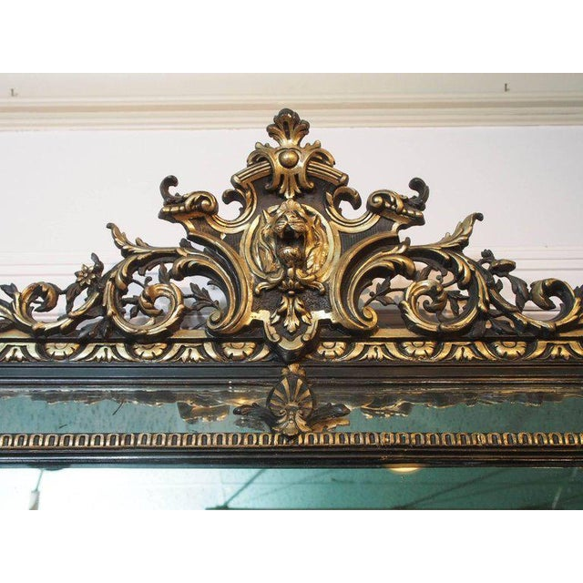 Antique French Giltwood & Ebonized Mirror For Sale - Image 4 of 7