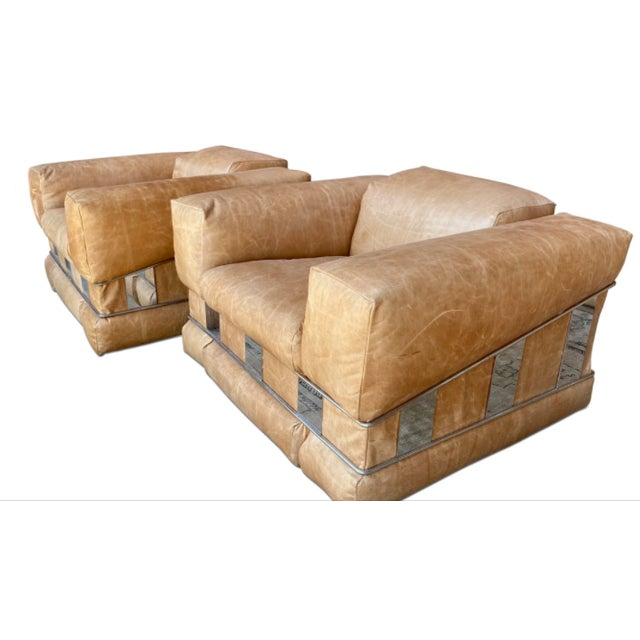 1970s Adrian Pearsall Leather Arm Chairs - a Pair For Sale - Image 5 of 7
