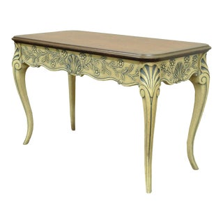 Vintage Louis XV French Country Style Shell Carved 2 Drawer Console Hall Table