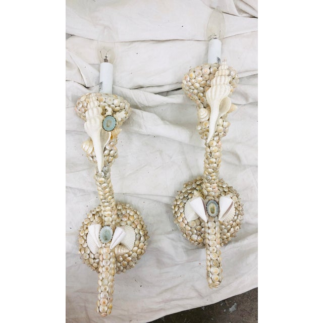 Pair Vintage Handmade Seashell Wall Sconces For Sale In Raleigh - Image 6 of 9