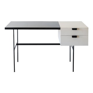 Rare Writing Desk Model CM141 by Pierre Paulin for Thonet in Original White Paint and Black Laminate, France, 1950s For Sale