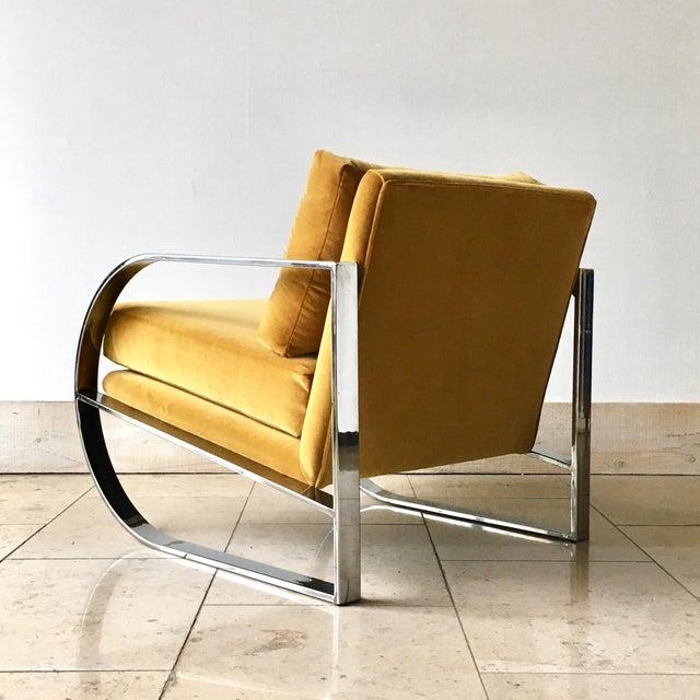 1970s Chromium Steel Framed Velvet Armchairs 1970s For Sale - Image 5 of 11