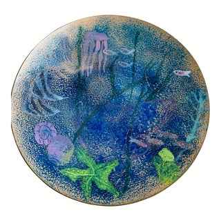 1950s Atomic Enamel Copper Fish Plate Platter Signed and Dated 1950s For Sale