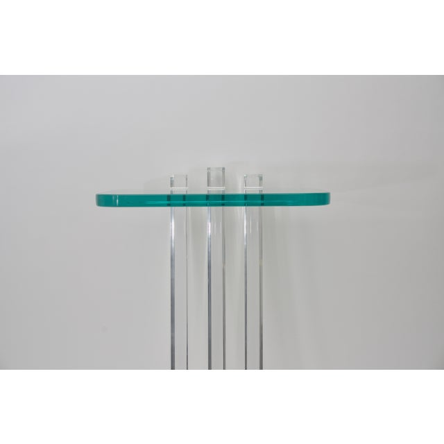 Modern Lucite and Glass Side Table by Les Prismatiques For Sale - Image 3 of 6