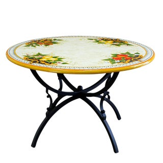 Italian Artistica Deruta Hand Painted Ceramic Stone Table + Iron Base Dining Table For Sale