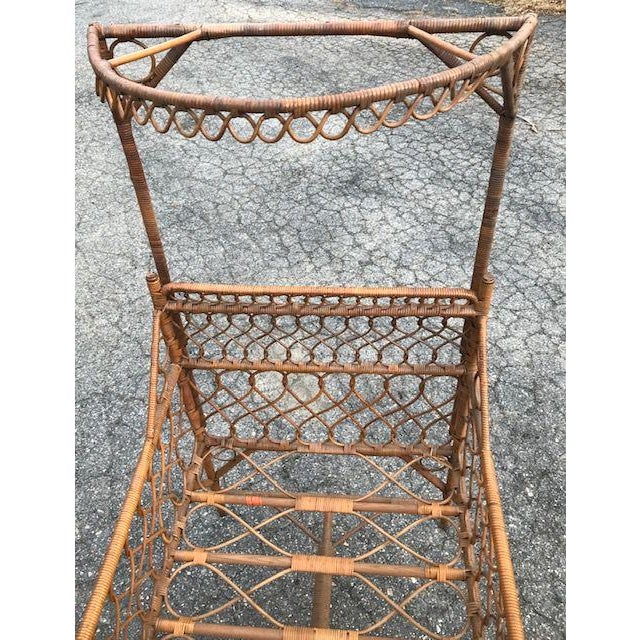 Late 19th Century Antique Victorian Wicker Youth Bed With Quarter Canopy Bed by Heywood Brothers Gardner Ma For Sale - Image 5 of 13