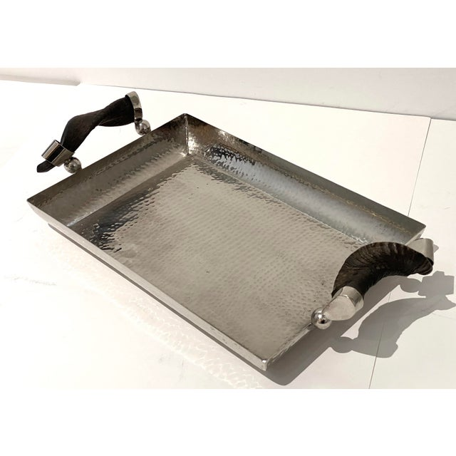 Vintage Serving Tray Hammered Steel With Horn Handles For Sale - Image 11 of 11