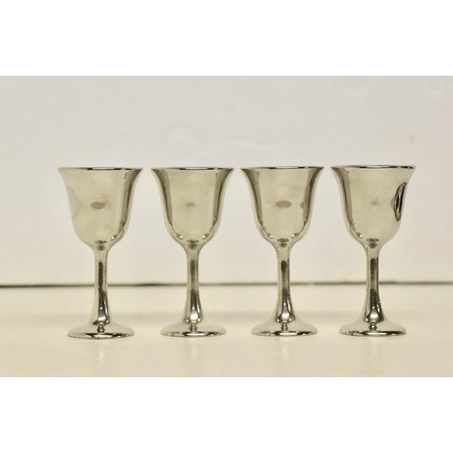 """Handsome set of 4 Silverplate Cordial Goblets, silver over zinc. Marked """"Italy"""" on underside."""