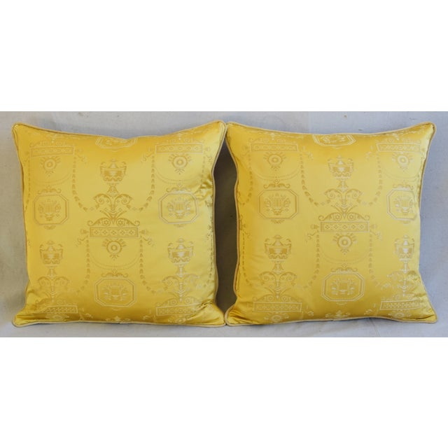 """Pair of large 24"""" custom-tailored pillows created from vintage/never used designer silk lampas fabric from Italy depicting..."""