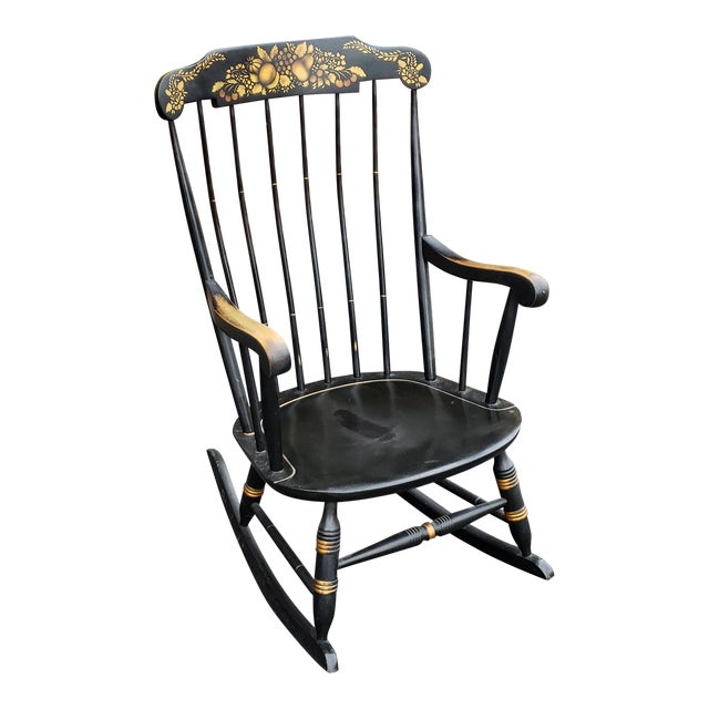 Vintage 1970s Black Hitchcock Style Painted Nichols & Stone Co. Rocking Chair Rocker For Sale