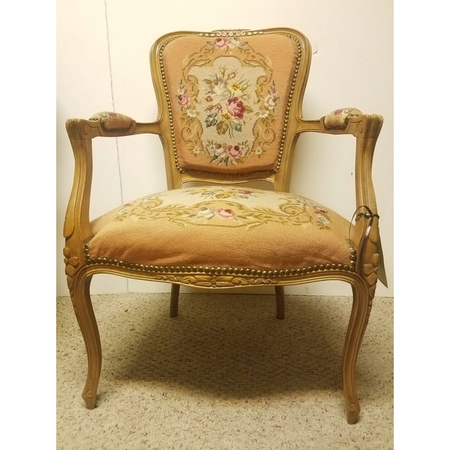 19th Century French Needle Point Arm Chair For Sale In San Antonio - Image 6 of 6
