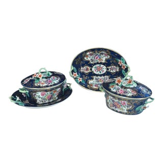 First Period Worcester Porcelain Blue Scale Botanical Sauce Tureens - 4 Piece Set For Sale