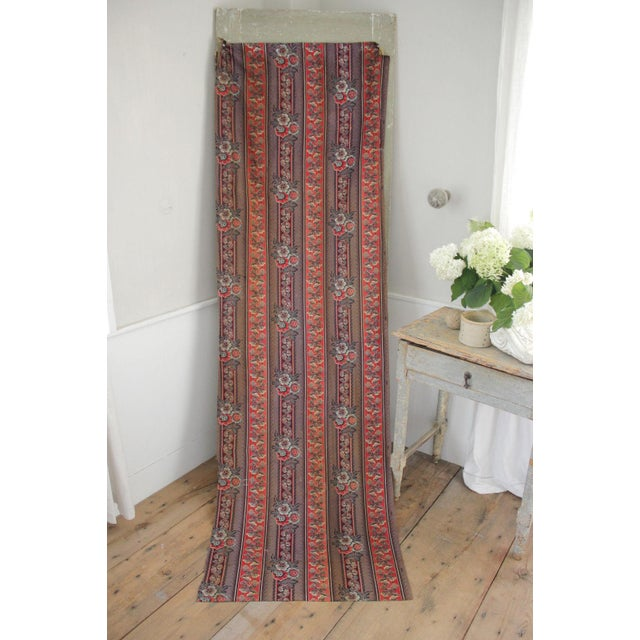 Antique French Fabric Rare Purple Red & Blue Madder Tones 1830 Roller Printed For Sale - Image 9 of 13