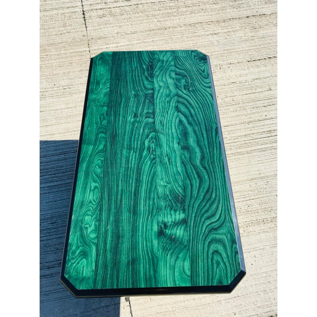 Wood 1980s Vintage Wood Coffee Table Malachite Finish For Sale - Image 7 of 12