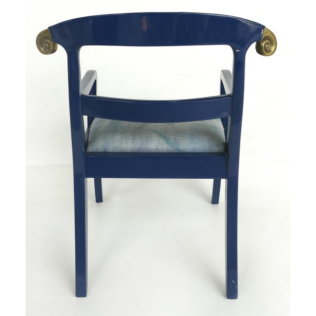 Klismos Ram's Horn Lacquered Arm Chairs- a Pair For Sale In Miami - Image 6 of 10