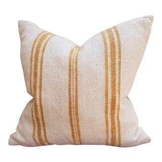 Ochre Stripe Nubby Grain Sack Pillow For Sale