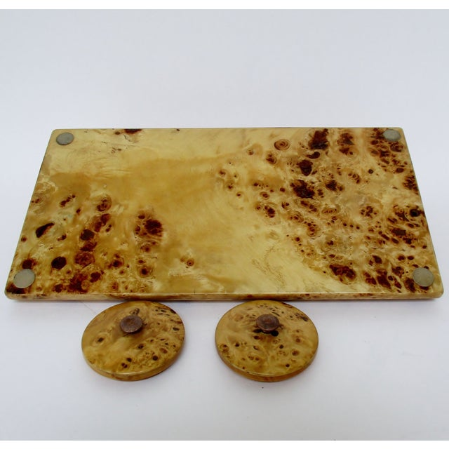 Lacquer Lacquered Burl Wood Desk Set For Sale - Image 7 of 8