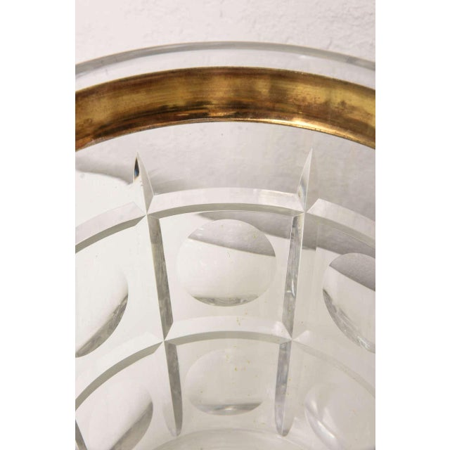 Brass Hollywood-Regency Style Ice Bucket in Crystal with Brass Trim: American, 1940s For Sale - Image 7 of 10