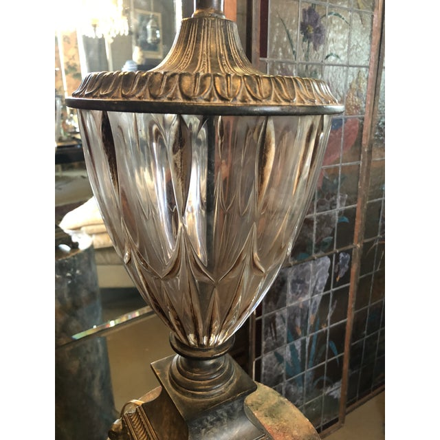 Contemporary Vintage Neoclassical Crystal Table Lamp For Sale - Image 3 of 13