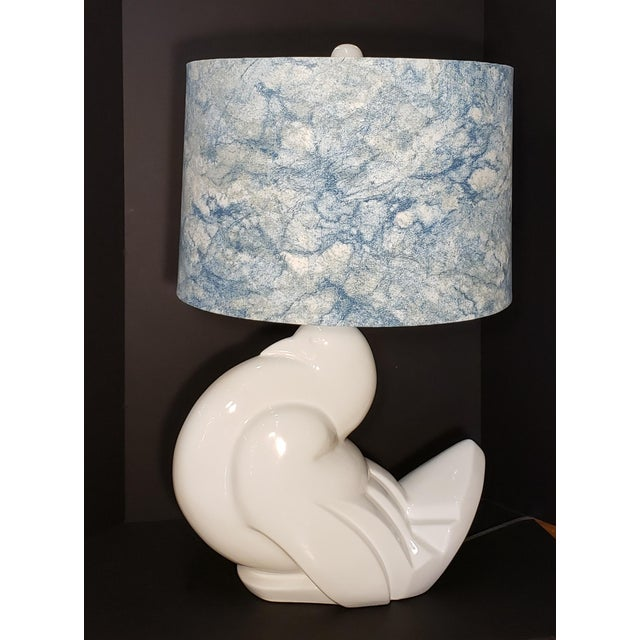 1960s Ceramic Italian Peace Dove Lamp With Shade For Sale - Image 10 of 10