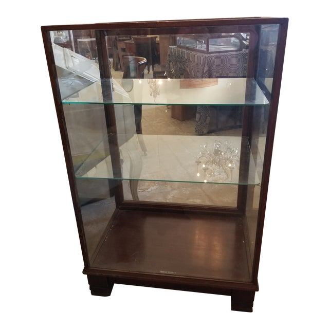 Antique Mahogany Display Case Cabinet For Sale