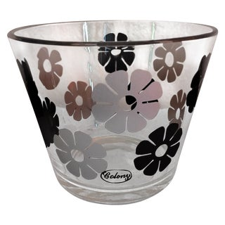 Mid Century Glass Colony Flower Ice Bucket For Sale