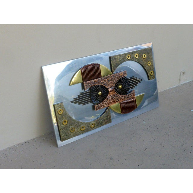 Paul Evans Mid-Century 1970's Brutalist Mixed Metal Wall Plaque For Sale - Image 4 of 8