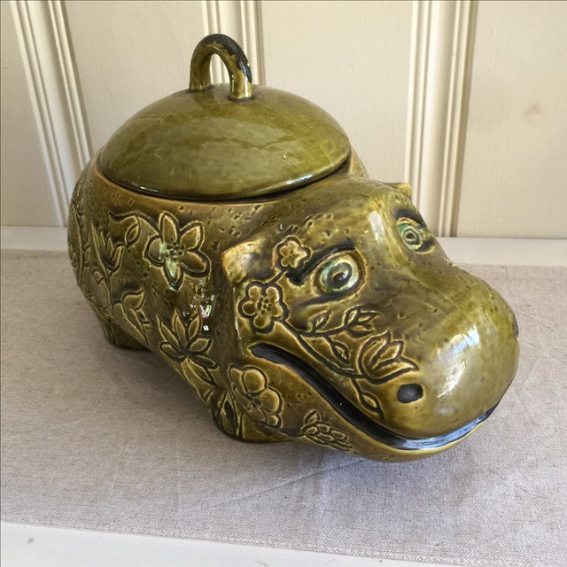 Large Mid-Century Hippo Cookie Jar For Sale - Image 11 of 11