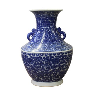 Chinese Blue White Porcelain Scroll Pattern Graphic Wide Body Vase For Sale