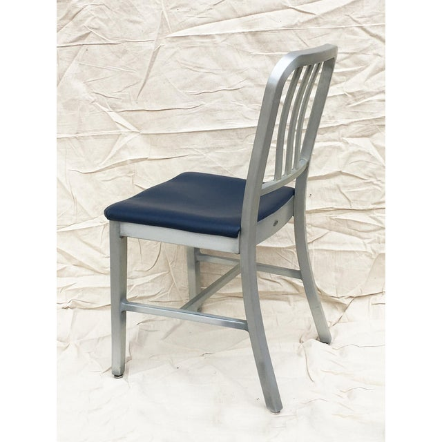 1950s Vintage GoodForm Aluminum Chairs With Navy Leather For Sale - Image 5 of 8