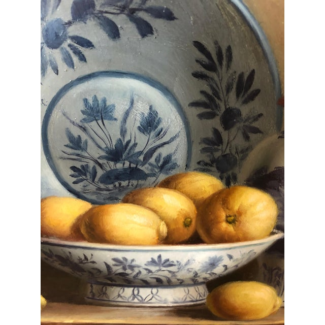 Canvas Realistic Blue and White Chinese Export Still Life Painting For Sale - Image 7 of 11