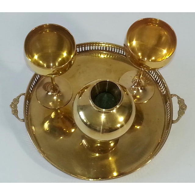 Gold Mid-Century Brass Goblets, Vase & Tray - Set of 4 For Sale - Image 8 of 11