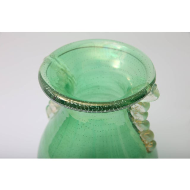 1930s Art Deco Barovier E Toso Controlled Tiny Bubbles Green Gold Murano Glass Vase For Sale In West Palm - Image 6 of 10