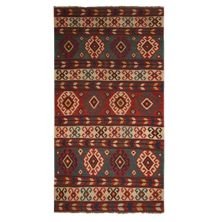 Vintage Mid-Century Azerbaijan Green and Red Wool Kilim Rug - Beige Accents For Sale