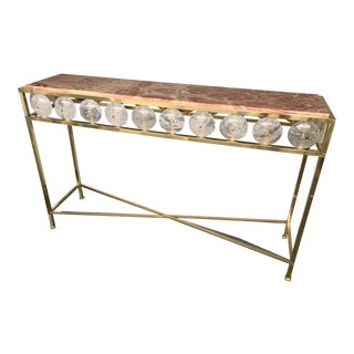 Contemporary Brass Console Rock Crystal Red Onyx For Sale