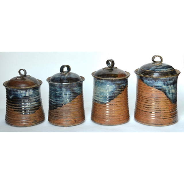 Vintage Mid Century Stoneware Pottery Canister- Set of 4 For Sale - Image 4 of 8