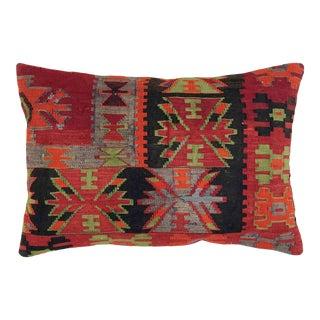 "Bold Boho Kilim Lumbar Pillow | 16"" X 24"" For Sale"