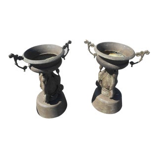 Pair of Cast Iron Urns For Sale