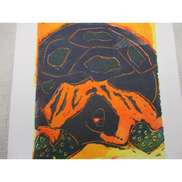 Vintage Lithograph Galapagos Tortoises Signed by Ann Zahn For Sale - Image 4 of 5