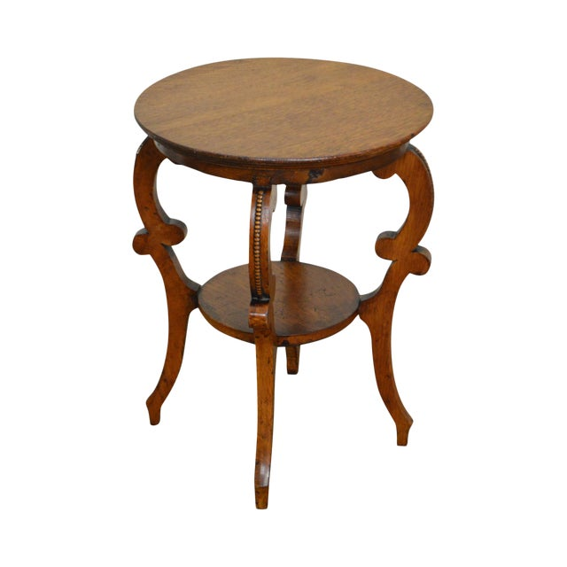 Antique Victorian Solid Oak 2 Tier Taboret Side Table - Image 1 of 10