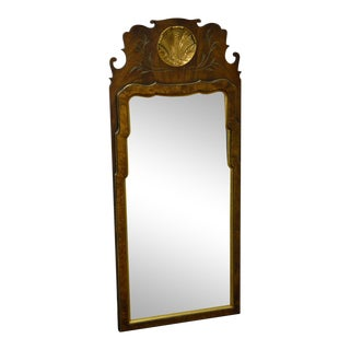 Southampton Burl Wood Gilt Shell Carved Queen Anne Looking Glass Mirror For Sale