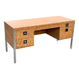 Vintage Milo Baughman Style Burl Laminate and Chrome Executive Desk For Sale