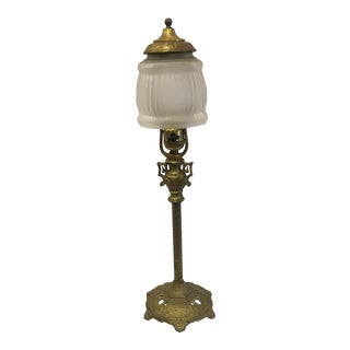 Vintage Brass Lamp With Frosted Glass Shade