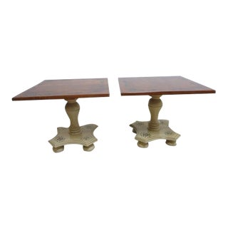 Ethan Allen Hitchcock Pedestal Side Tables - A Pair