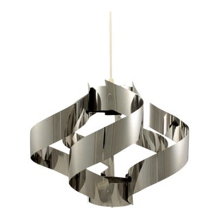 Mid-Century Stainless Steel Ribbon Pendant