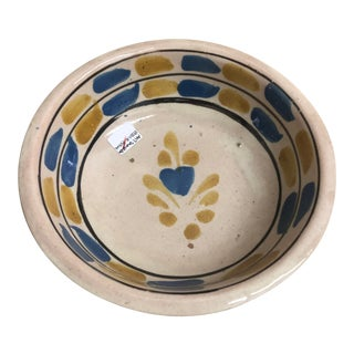 Vintage Mexican Ceramic Pozole Bowl Hand Painted Blue and Yellow Pattern Design For Sale