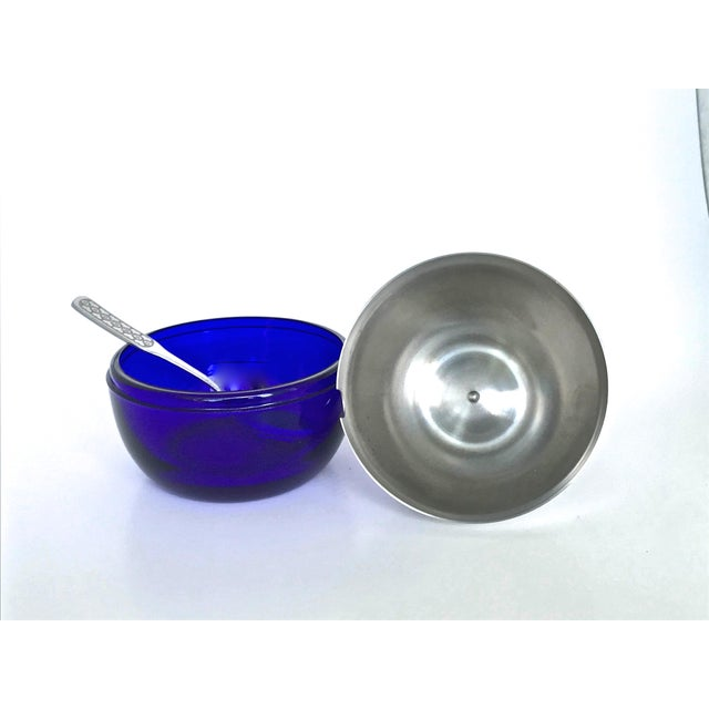 Cobalt & Chrome Jelly Pot & Spoon For Sale In Raleigh - Image 6 of 10